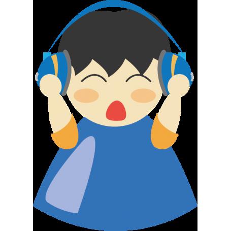Vinilo decorativo niño auriculares