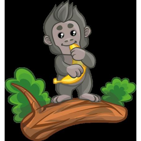 Vinilo infantil mono plátano