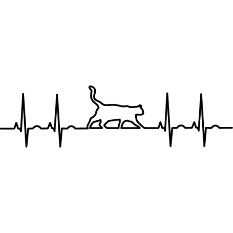Pegatina de vinilo gato electrocardiograma