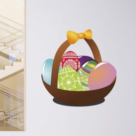 Vinilo cesta huevos pascua