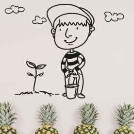 Adhesivo ilustración jardinero