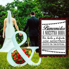 Vinilo decoratibo bienvenidos para bodas