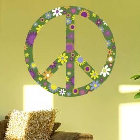 Pegatina paz flores