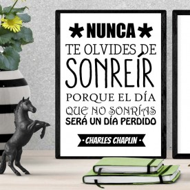 Lámina No olvides Sonreír Chaplin