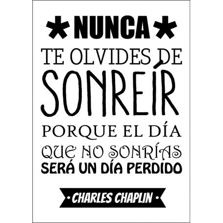 Lámina decorativa de vinilo No olvides Sonreír Chaplin