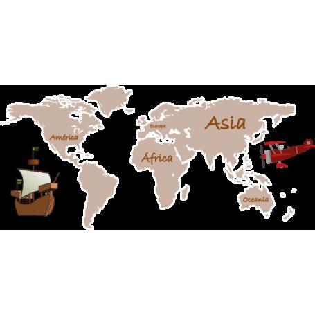 Vinilo decorativo mapamundi infantil