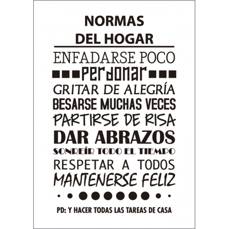 Lámina decorativa de vinilo Normas del Hogar