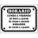 Vinilo decorativo cartel horario tienda personalizado