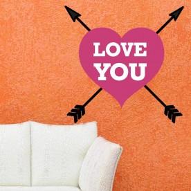 Vinilo pared corazón Love You