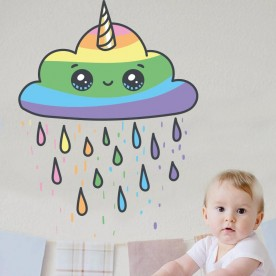 Vinilo infantil nube arco iris