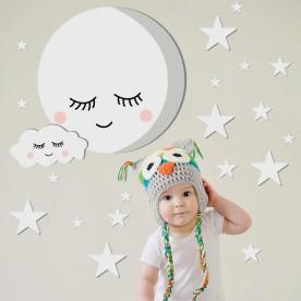 Vinilo infantil luna, nube y estrellas