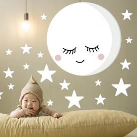 Vinilo infantil habitación bebé luna llena