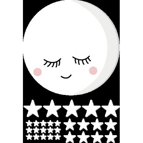 Vinilo bebé luna llena y estrellas