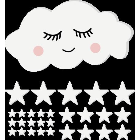 Vinilo infantil nube con estrellas