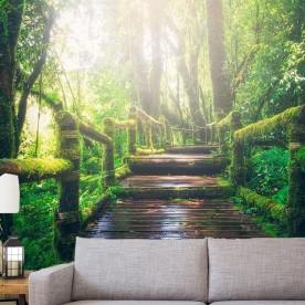 Vinilo decorativo fotomural puente bosque