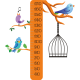 Vinilo medidor infantil pájaro rama