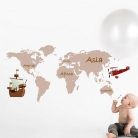 Vinilo infantil mapa mundo