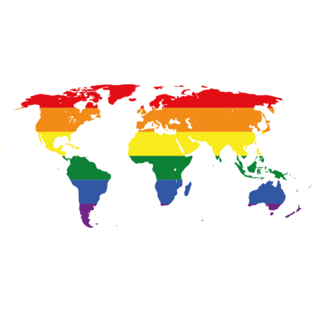 Vinilo decorativo mapamundi gay LGBTI lesbianas y bisexuales