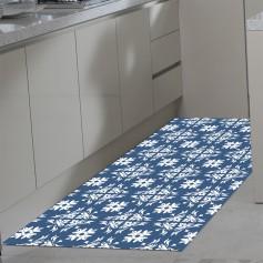 Alfombra vinilo azulejos azules