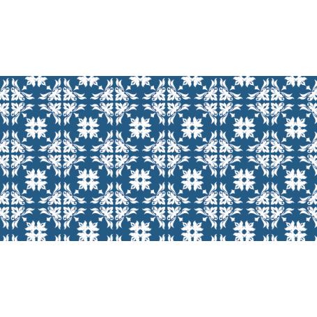 Alfombra PVC azulejos azules para cocinas