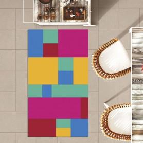 Alfombra vinilo cuadrados colores