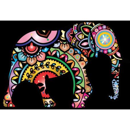 Alfombra de vinilo étnica forma elefante mandala