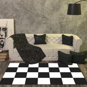 Alfombra vinílica cuadros blancos/negros