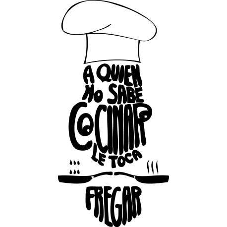 Vinilo decorativo texto cocina quien no sabe cocinar