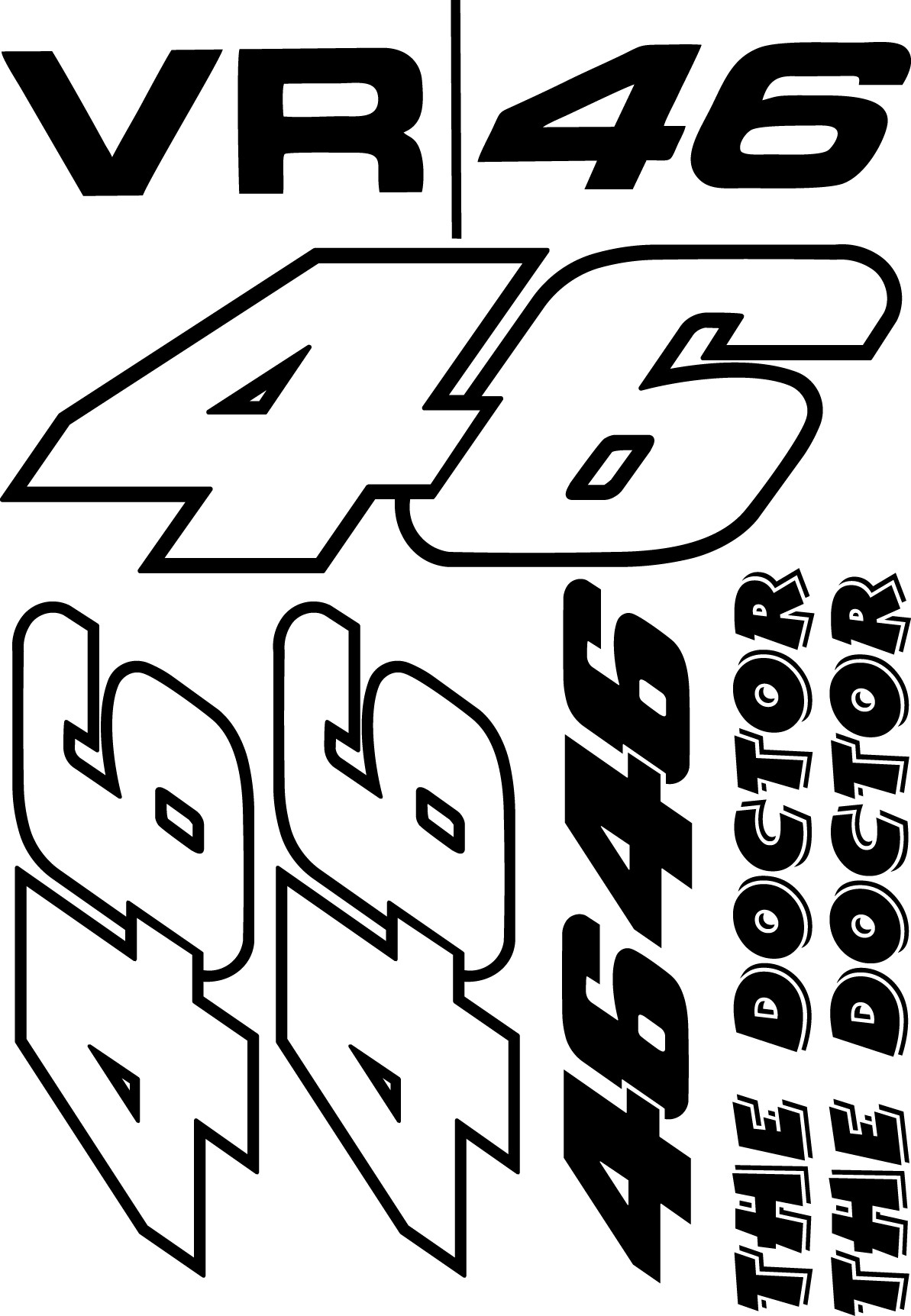 Kit de pegatinas Valentino Rossi   stickers rossi   vinilos para motos
