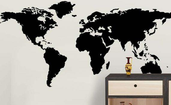 Vinilo silueta mapa del mundo