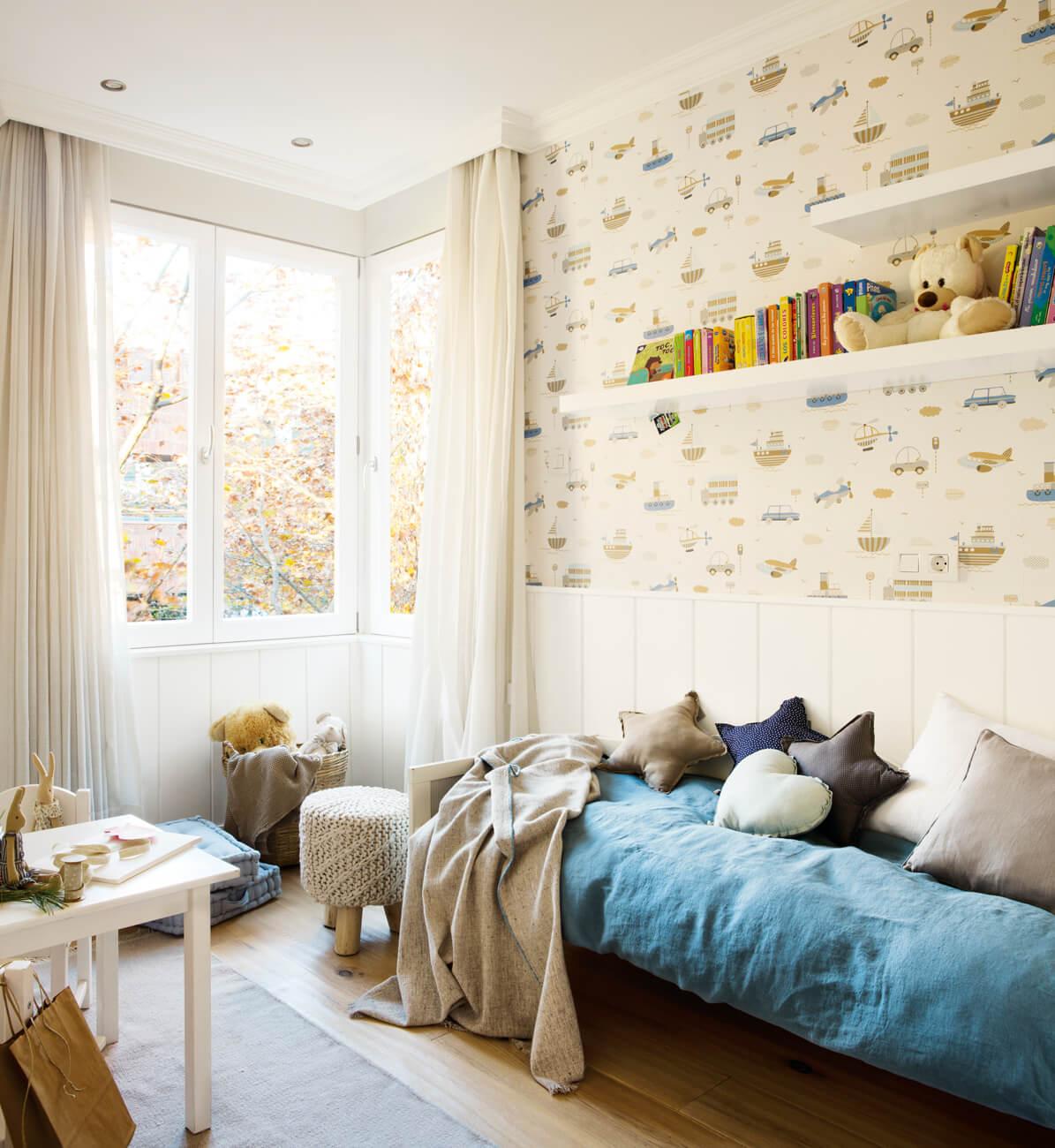 dormitorio infantil decorado tipo nórdico