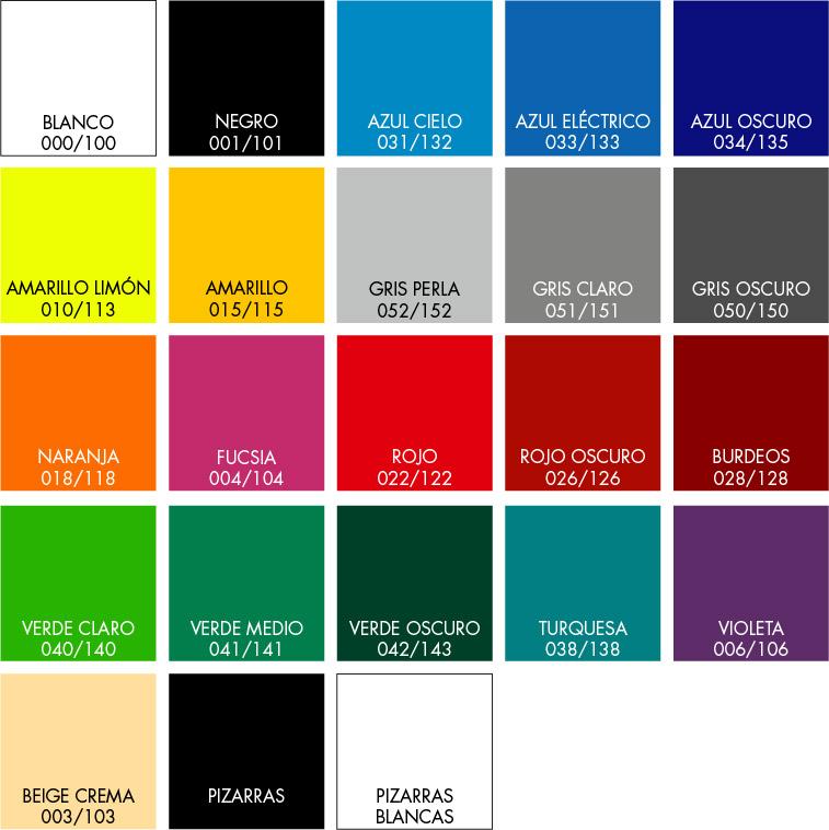 Carta de colores vinilos Andiar.com