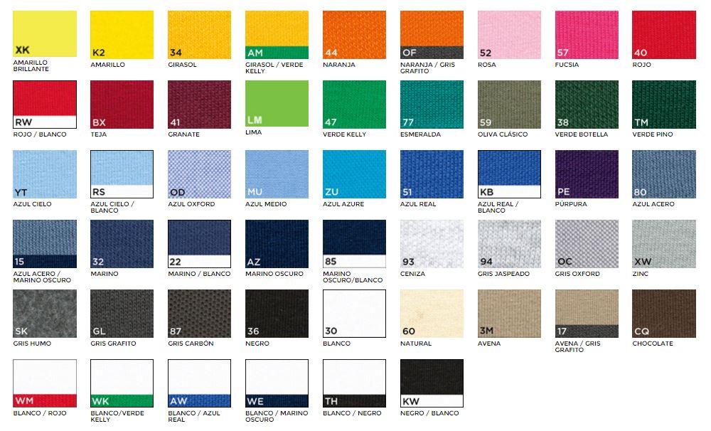 Colores camisetas y sudaderas Andiar